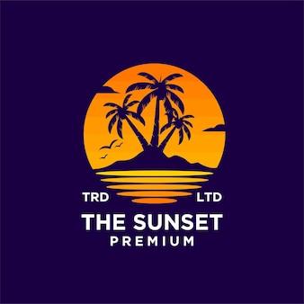 Sunset beach logo design illustration vector