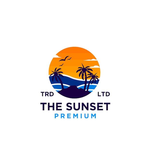 サンセットビーチロゴデザインイラストベクトル