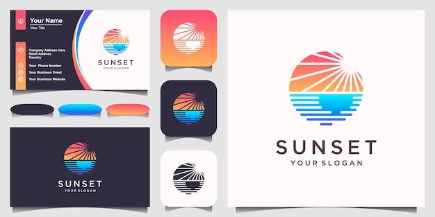 Sunset beach logo design inspiration. Premium Vector