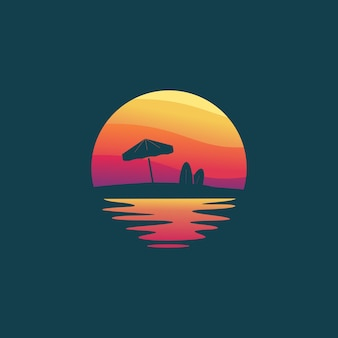 Дизайн логотипа sunset beach