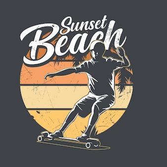 サンセットビーチロングボードグラフィック