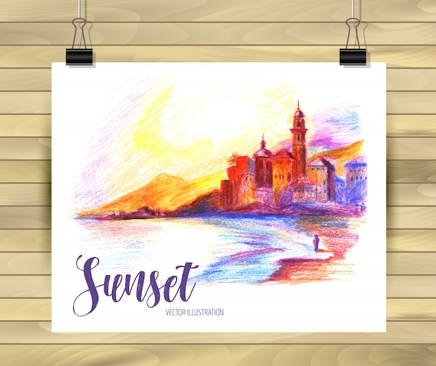 Sunset beach postcard