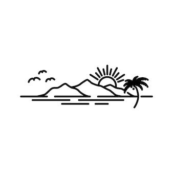 Сцена пляжа заката с горой и кокосовыми пальмами, дизайн логотипа, вдохновение