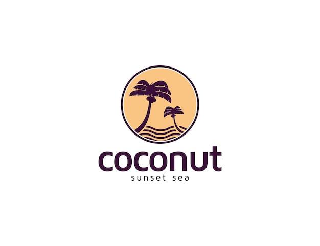 Кокосовая пальма на закате и иллюстрация логотипа пляжа острова для концепции отпуска
