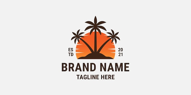 Sunset coconut tree gradient logo design template
