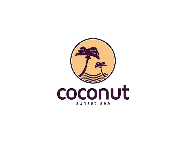 Sunset coconut tree and island beach logo illustration for vacation concept