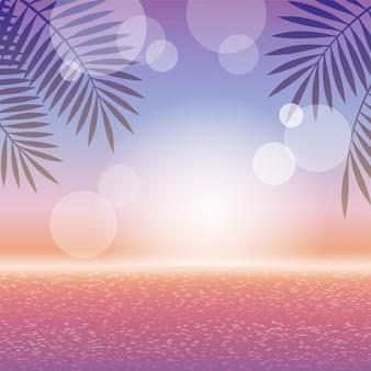 Закат цвета тропический курорт квадратный фон с океаном, горизонт и пальмовых листьев.