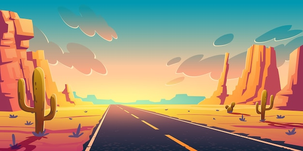 Sunset in desert with road, cactuses and rocks