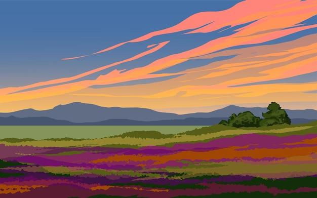 Sunset dusk landscape of countryside
