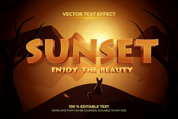 Sunset editable 3d text effect with landscape mountain backround style