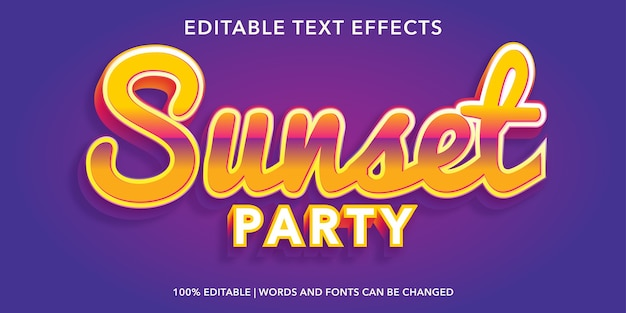 Sunset editable text effect
