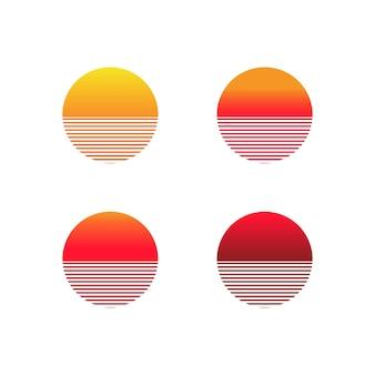 Набор иконок градиента заката. иллюстрация солнца в стиле ретро 80-х и 90-х годов. вектор на изолированном белом фоне. eps 10.