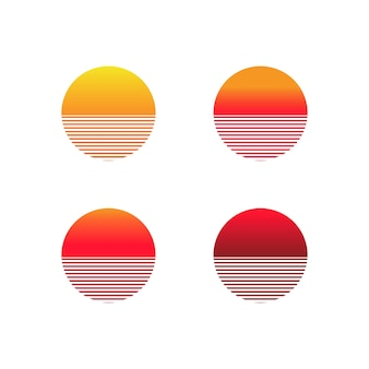 Sunset gradient icon set. illustration of sun in retro 80s and 90s style. vector on isolated white background. eps 10.