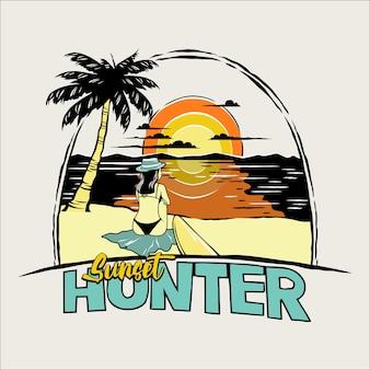 Sunset hunter vector illustration