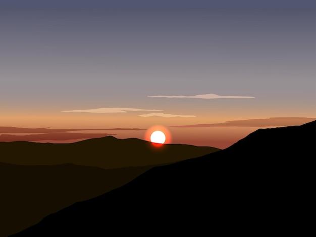 地平線に山と太陽と夕日のイラスト