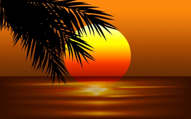 Sunset illustration with palm leaves