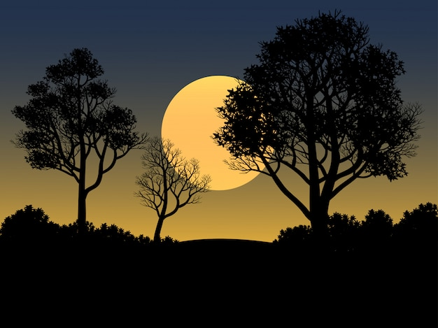 Sunset illustration with silhouette of forest