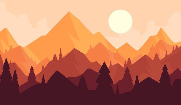 山岳地帯に沈む夕日、森のある風景