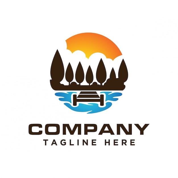 Шаблон логотипа закат в озере