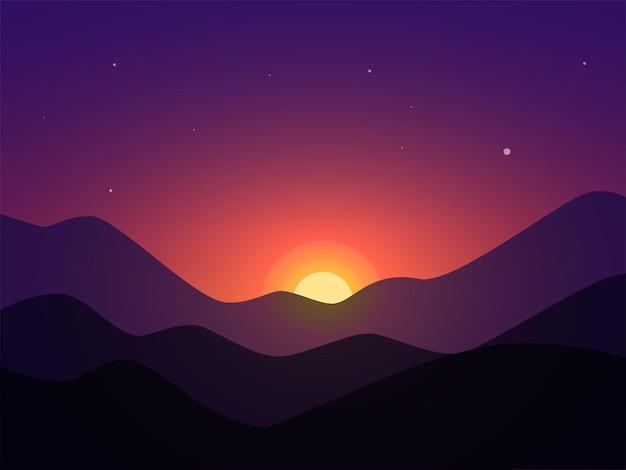 Закат в горах минимальный пейзажный фон