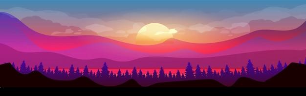 산 플랫 컬러 벡터 일러스트 레이 션에 일몰입니다. 침엽수 림. 수평선에 우드랜드입니다. 야생의 자연. 전나무 나무와 언덕 배경에 보라색 하늘에 태양과 구름과 2d 만화 풍경