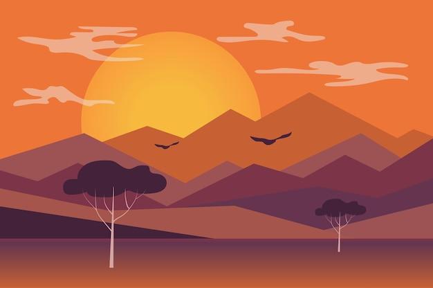 フラットスタイルの山の風景に沈む夕日