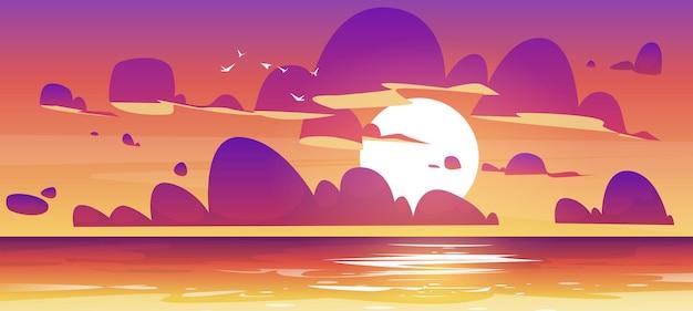 Закат в океане природа пейзаж фон розовые и фиолетовые пушистые облака в оранжевом небе с солнцем ши ...