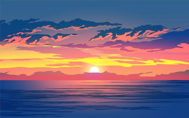 바다 자연 풍경에 일몰
