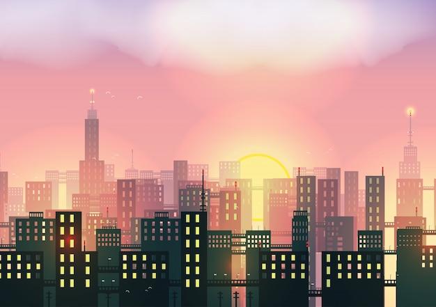 도시 배경에서 일몰