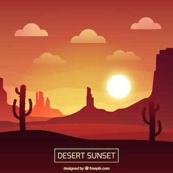 砂漠の日没、赤の色調