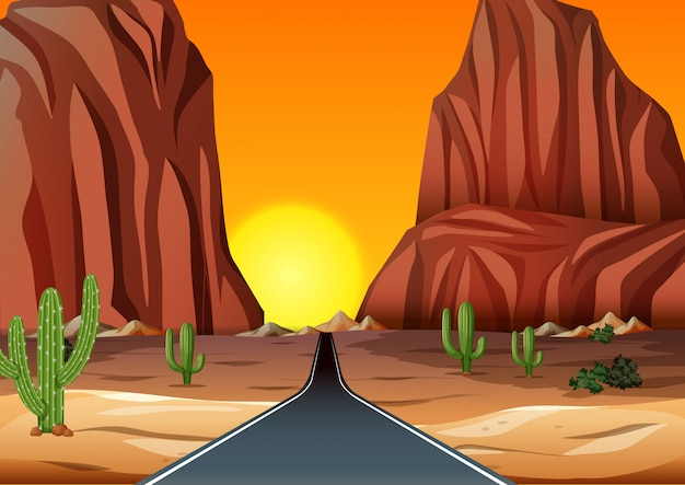 Закат в пустыне с дорогой