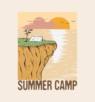 キャンプと山の崖のイラストの夕日