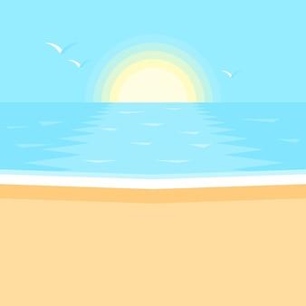 바다에서 일몰. 바다, 깨끗한 모래 해변 풍경.