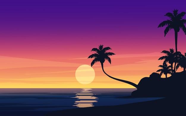 Закат в океане с островом и пальмами