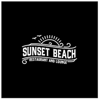 Sunset island lake beach sea ocean vintage retro logo design