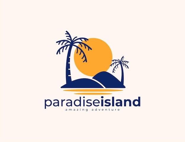 Sunset island and palm tree logo design