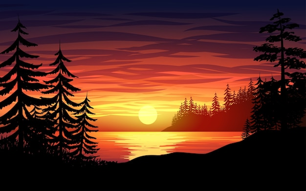 Sunset in a lake with pine trees