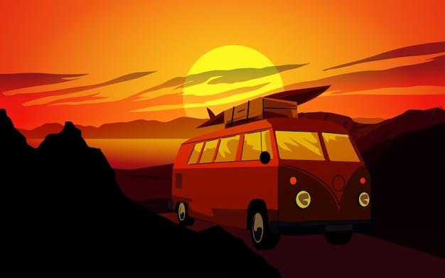 ヴィンテージ車と夕日の風景の背景