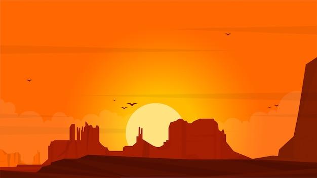 日没の風景フラットイラスト