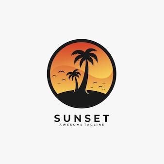 Sunset landscape illustration   logo.