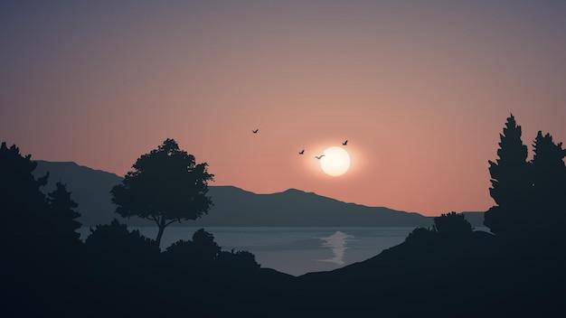 Иллюстрация закат пейзаж с озером и лесом