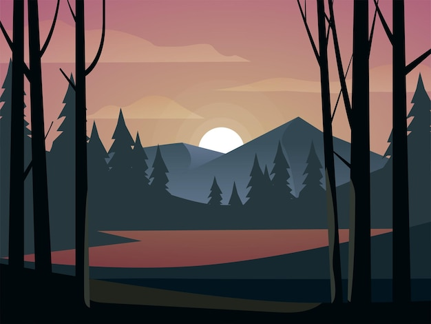 Закатный пейзаж в лесу на фоне гор и озера