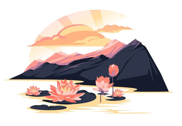 Sunset landscape over a mountain lake with blooming lotuses pink and purple colorful flat illustrat