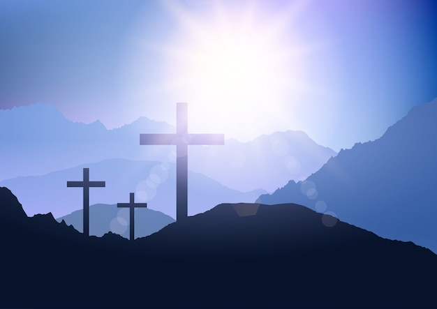 イースターのための十字架と夕日の風景