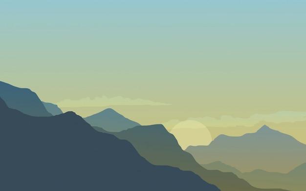 丘の中腹に日没の風景