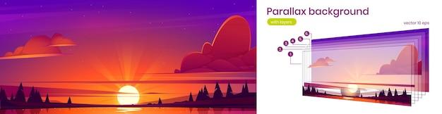 地平線上の湖の太陽と海岸のベクトル視差の背景の木のシルエットと夕日の風景...