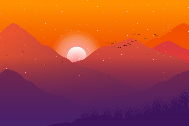 Sunset landscape with mountain and sky illustration