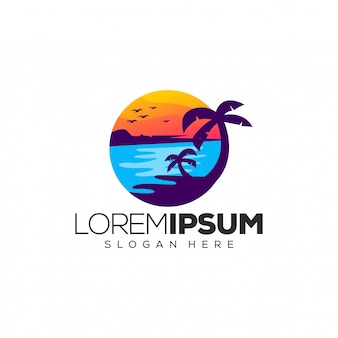 Sunset logo design vector illustration