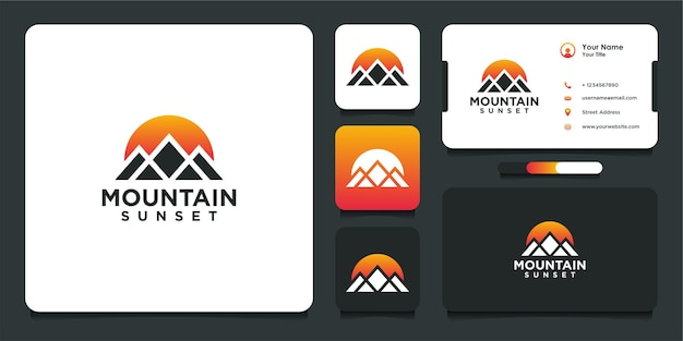 Sunset logo design with mountains and business card