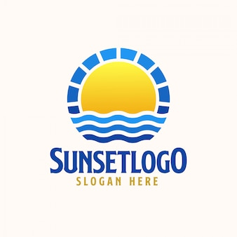 Sunset logo template. vector logo